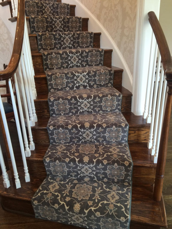 Patterned Grey And White Stair Runner
