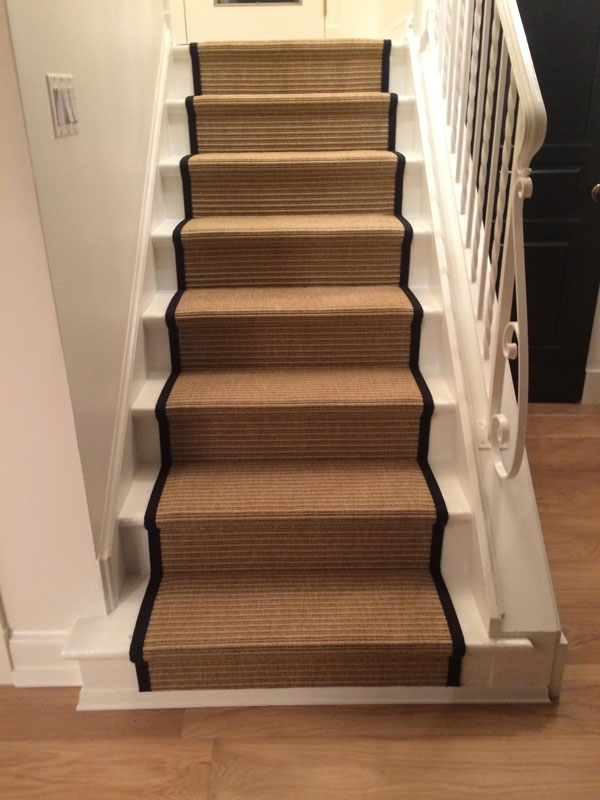 Carpeted Dark Neutral Stair Runner by Farsh