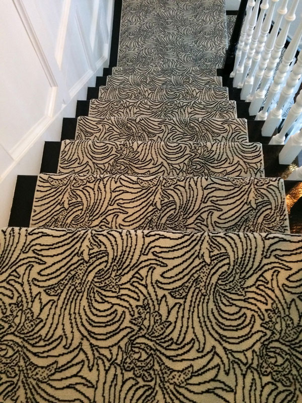 Abstract Pattern Black and White Stair and Hall Runner by Farsh