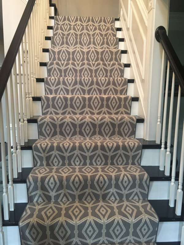 Contemporary Staircase Carpet with Geometric Pattern Custom Carpet By Farsh Carpets
