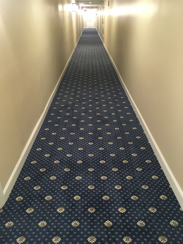 Long Hallway Commercial Carpet Installation Hotel Venue Farsh Carpets